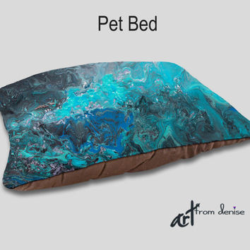 Designer Pet bed, Decorative, Dog bedding, Teal turquoise blue gray black, Home decor, Upscale dog beds, Pet pillows, Cushion Cat bed Animal