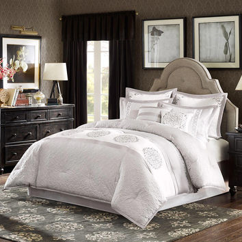 Madison Park Signature Arianne  Polyester Charmeuse 8 pcs Comforter Set w/ Embroidery, Grey