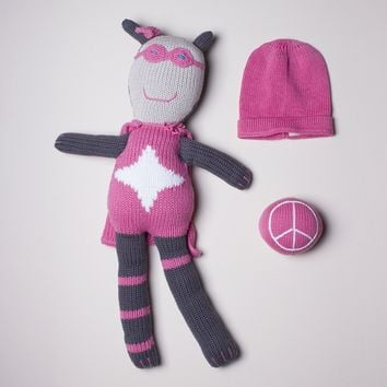 """Baby Gift Set With 18"""" Trixie Doll, Peace & Love Rattle and Pink Hat"""