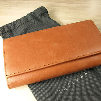 Aubrey Orange Envelope Leather Wallet : Leather wallet / Orange Leather Purse / Leather Purse / Orange wallet