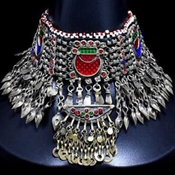 Genuine Afghan Kuchi Choker Necklace Chain Tribal Jewelry Bohemian Boho Pendant