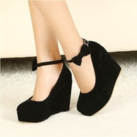 Low Price 2016 New Sexy Women Fashion Cute Cat Face Buckle Shoes Vogue Wedges RED APRICOT BLACK High Heels Platform Pumps 0
