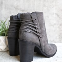 very volatile - lacey lace-up back bootie - charcoal