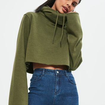 Missguided - Khaki Cropped Extreme Sleeve Hoodie