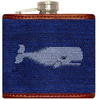 Whale Needlepoint Flask in Navy by Smathers & Branson