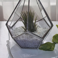 Lilac Stained Glass Air Plant Terrarium, Stained Glass Air Plant Holder, Pale Mauve Stained Glass Terrarium