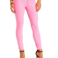 "Refuge ""Skin Tight Legging"" Colored Skinny Jeans - Hot Neon Pink"
