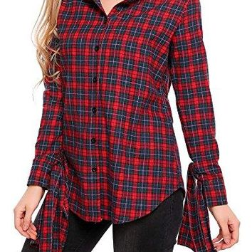 SoTeer Womens Classic Plaid Hoodie Long Sleeve Boyfriend Button Down Flannel Shirts