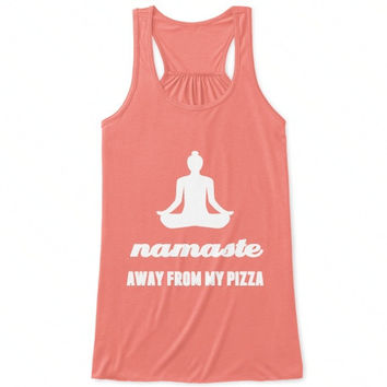 """Namaste Away From My Pizza"" Flowy Racerback Tank Top - Coral/White"
