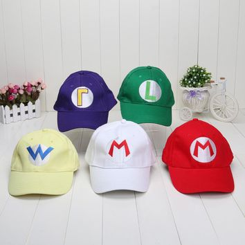 Super Mario party nes switch  Bros Baseball Hat Caps Red Blue Purple Yellow White  Luigi Hats 5 colors AT_80_8