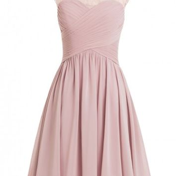 A-line Scoop Chiffon Cap Sleeves Pink Short Homecoming Dress
