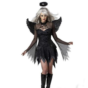 2018 High Quality Cosplay Masquerade Halloween Cosplay Costume Vampire Queen Witch Bride Dress Fitted Black Angel Role Play