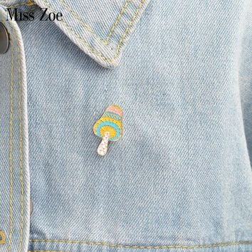 Cartoon mushroom brooch Enamel pin for coat Button Pins Denim Jacket Pin Badge Fashion plant Jewelry Gift for Kids