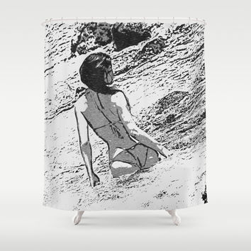 Sexy at the Beach, perfect shapes bikini girl bathing in bay, hot black and white Shower Curtain by hmdesignspl