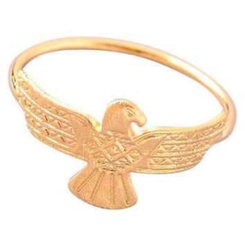 Dainty Etched Eagle Ring