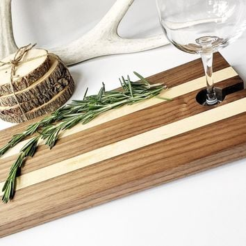 Maple & Walnut Serving Tray - Cheese Board with Wine Glass Holder - Appetizer Cutting Board with Wine Carrier