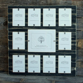 Collage Picture Frame - Distressed Wood - Holds 11 Photos - 10 - 4x6 Photos and 1 - 8x10 Photo - Black and White