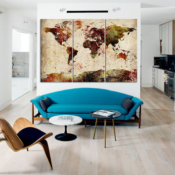 LARGE CANVAS ART - Retro Colorful World Map Canvas Art Print - Watercolor World Map Canvas Triptych Printing for Home and Wall Decoration