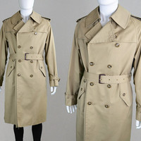Vintage 70s Mens Trenchcoat Trench Coat Pea Coat Double Breasted Long Jacket Mens Large Beige Outerwear Fur Lined Jacket L 42 Spy Coat Mac