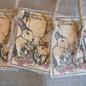 Gift Tags, Easter Tags, Bunny Tags Aged Primitive Gift Tag by PebbleCreekDesigns