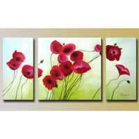 'Flowers' Hand-painted Oil on Canvas (Set of 3)