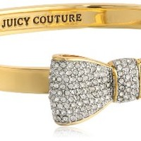 Juicy Couture Pave Bow Hinge Bangle Bracelet, 2.36""