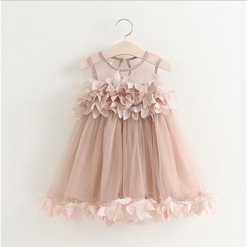Baby Dress Summer girls petal vest dress Kids toddler Infant Clothes Baby Girls clothing 12m-5y