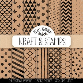 SALE. Geometric Digital Paper. Stamped Scrapbook Paper with Hearts, Chevron, Stripes, Honeycomb Patterns. Kraft, Cardboard Texture Printable
