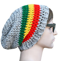 Slouch Rasta Beanie Oatmeal Grey Mens or Unisex - Ultimate Slacker Striped Beanie Hat with ribbed brim