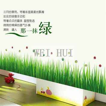 Grass LadyBug Mural Decal Wall Sticker for Glass Window Living Room Home