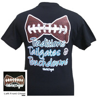 Girlie Girl Originals Tailgates, Traditions and Touchdowns Bow Football Bright Black T Shirt
