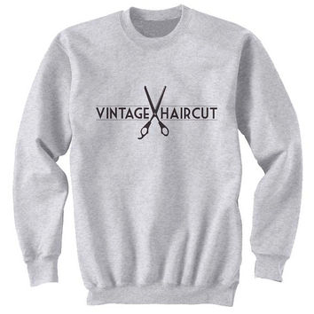 vintage haircut sweater Gray Sweatshirt Crewneck Men or Women for Unisex Size with variant colour