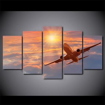 5 Pieces Canvas Art Print Sunset Airplane Poster Sunset Clouds Wall Picture