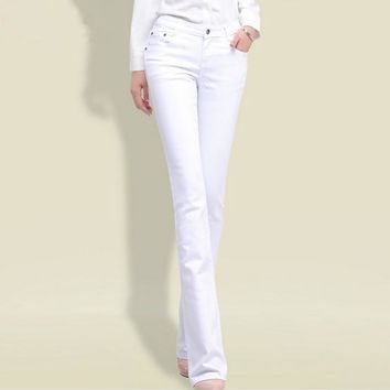 2017 Spring Woman Black White Jeans Straight Cut Boot Flare Jeans For Women Push Up Sk