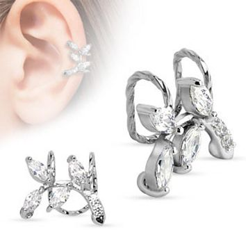 Branch with CZ Leaves Non-Piercing WildKlass Ear Cuff (Sold by Piece)