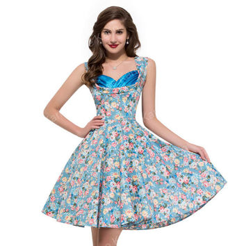 2017 Retro Vintage 50s Floral clothing 1950s Swing plus size Robe Rockabilly Cotton Womens Print Party Dresses Summer Style