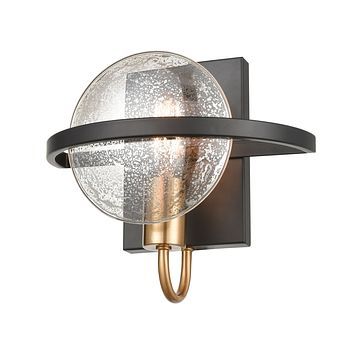 Oriah 1-Light Sconce in Matte Black with Mercury Glass