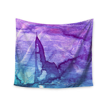 "Malia Shields ""Blues Abstract Series 2"" Purple Aqua Wall Tapestry"
