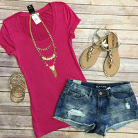 Basic Scoop Tee: Magenta
