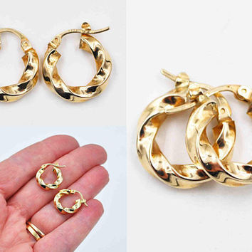 Vintage 14K Yellow Gold Twisted Hoop Pierced Earrings, Italy, 5/8 Inch Hoops, Latch Back, Draped, Flowing, 1.8 Grams, Lovely! #c455