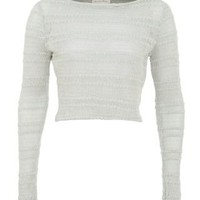 New Look Mobile | Mint Green Stripe Pointelle Knit Crop Jumper