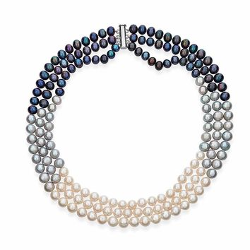 Multi-Color Triple Strand Layer Freshwater Pearl Necklace 8-9mm