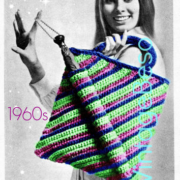 Super TOTE CROCHET Pattern is an Instant Download PDF 70s bag crochet pattern Granny Square Tote Bag easy to enlarge
