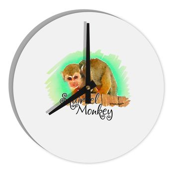 "Squirrel Monkey Watercolor Text 8"" Round Wall Clock"