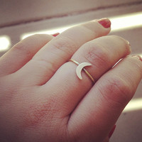 Tiny Crescent Moon Ring  by lilacsinthesunshop on Etsy