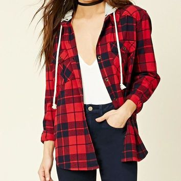 Forever 21 Fashion Casual Buttons Hooded Lattice Long Sleeve Shirt Coat