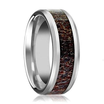 Men's Tungsten Wedding Band W/ Dark Deer Antler Beveled Polished Finish 8mm