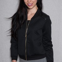 LA Banga Love Gold Sequin Applique Quilted Bomber Jacket - Black
