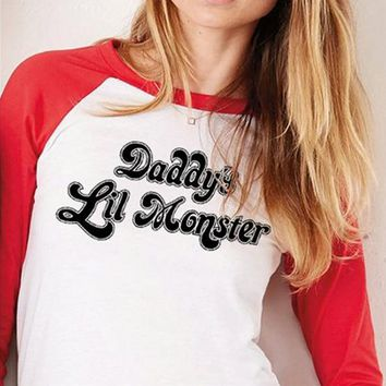 Fashion letters printed T-shirt sleeve 7 points top blouse