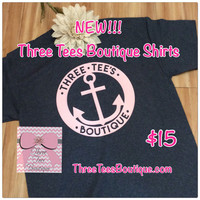 Three Tees Over-Sized Anchor T-Shirt